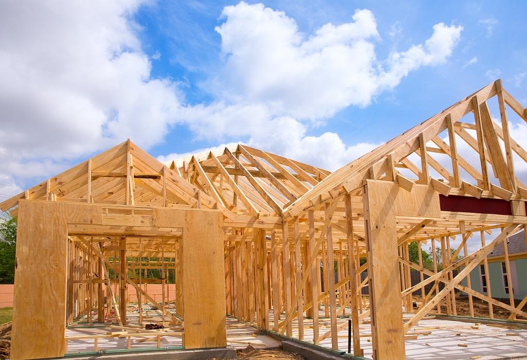 könnyűszerkezetes ház szerkezetkész állapotban