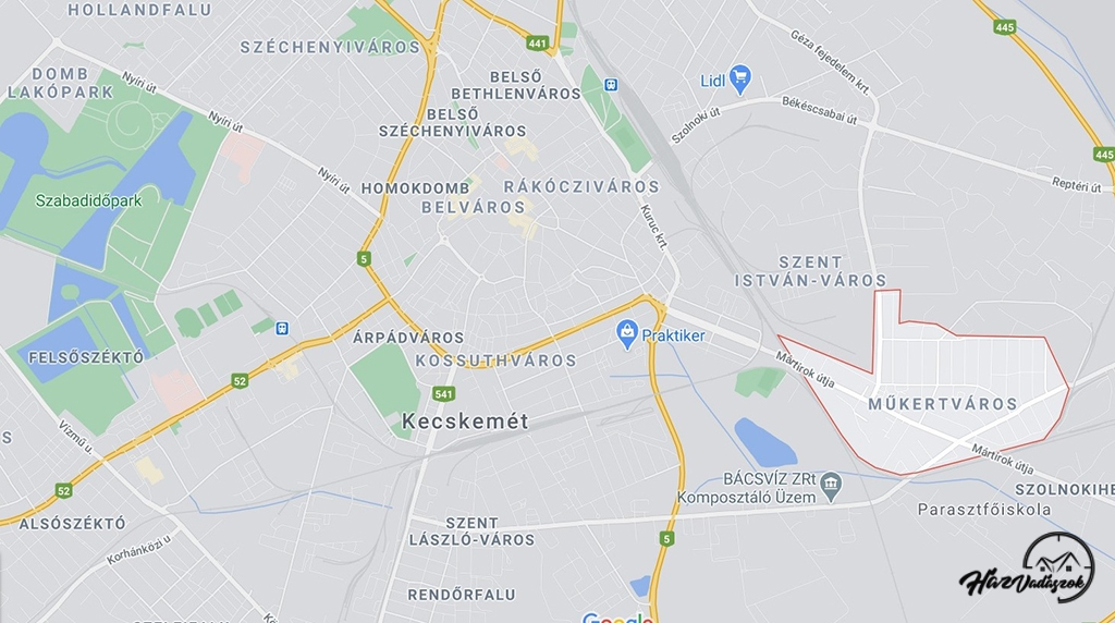 Kecskemét, Műkertváros térképen