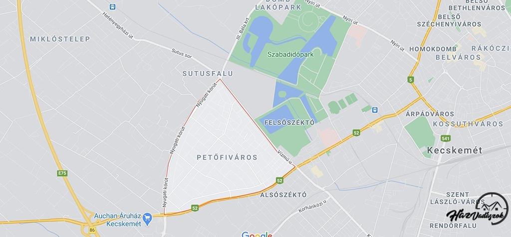 Kecskemét, Petőfiváros térképen