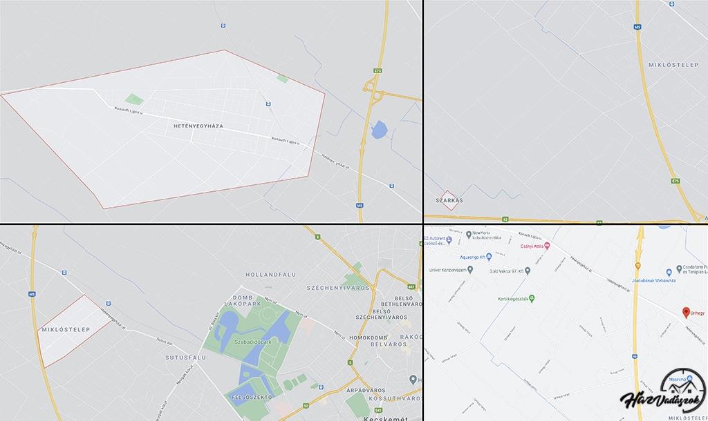 Kecskemét, Szarkás, Úrihegy, Miklóstelep, Hetényegyháza térképen